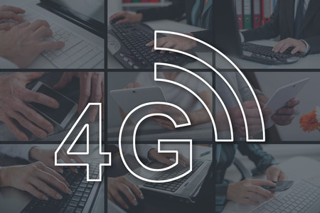 4g network concept illustrated by pictures on background