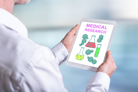 Tablet screen displaying a medical research concept