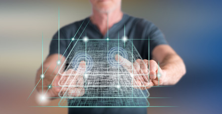 Man touching a blockchain technology concept on a touch screen with his fingers Zdjęcie Seryjne