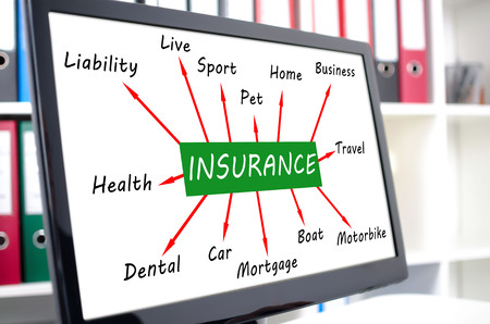 Insurance concept shown on a computer screen Stock Photo