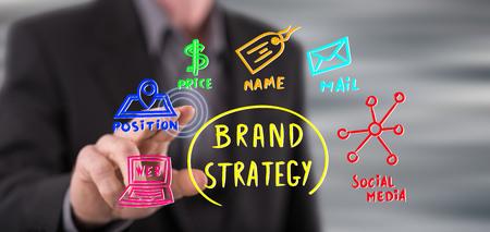 Hombre tocando un concepto de estrategia de marca en una pantalla táctil con su dedo Foto de archivo