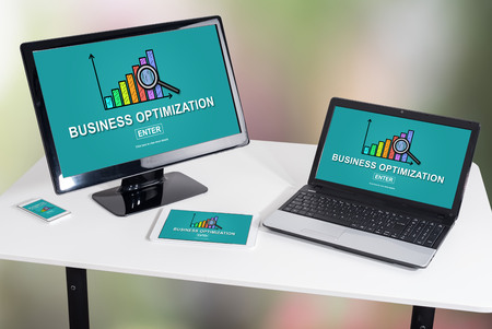 Business optimization concept shown on different information technology devices Stock Photo