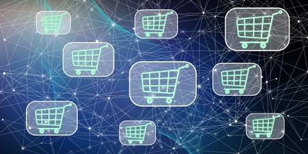 Illustration of an online shopping concept Stock Illustration - 107257944