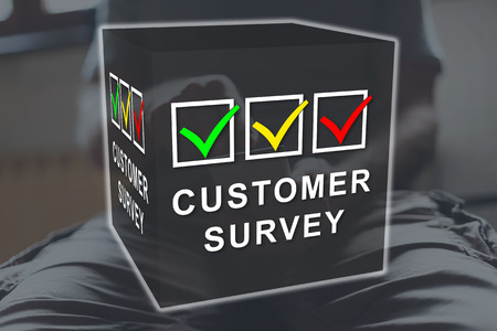 Customer survey concept illustrated by a picture on background