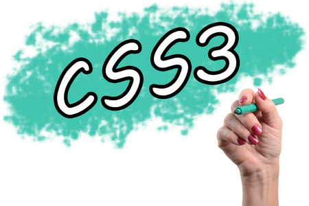 The word css3 written by a womans hand