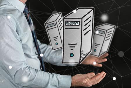 Desktop computer concept above the hands of a man