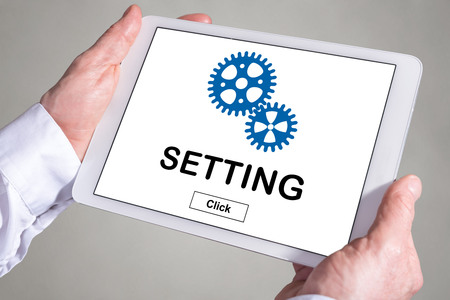 Tablet screen displaying a setting concept