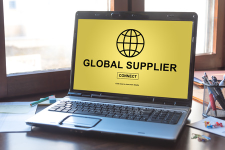Laptop screen displaying a global supplier concept