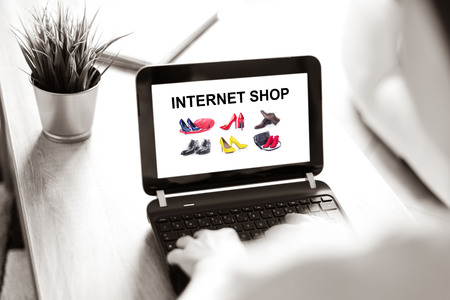 Laptop screen displaying an internet shop concept