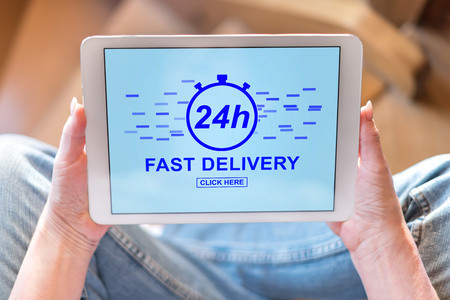 Tablet screen displaying a fast delivery concept