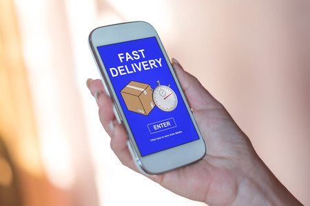 Smartphone screen displaying a fast delivery concept