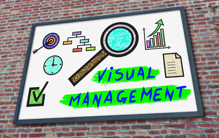 Visual management concept drawn on a billboard fixed on a brick wall