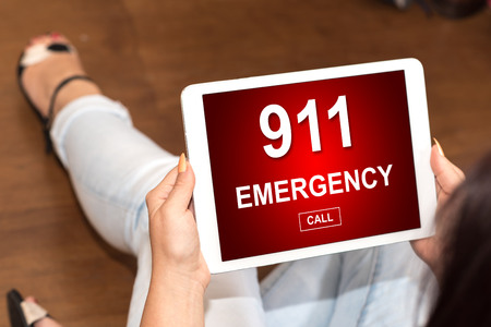 Tablet screen displaying an emergency concept Stock Photo