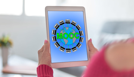Tablet screen displaying a mooc concept