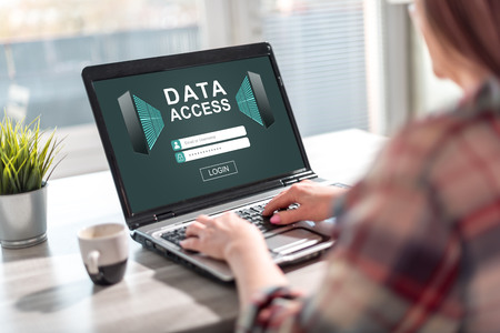 Laptop screen displaying a data access concept