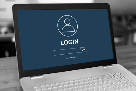 Laptop screen with login concept