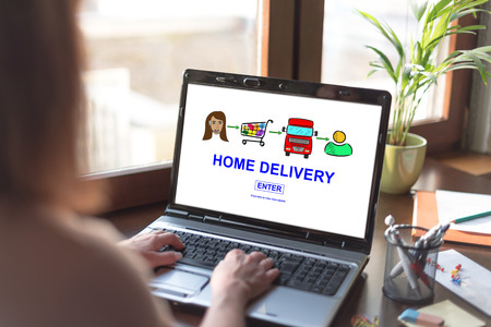 Laptop screen displaying a home delivery concept
