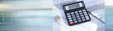 Calculator on financial documents, accounting concept, closeup. panoramic banner