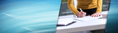 Businesswoman signing document in office. panoramic banner