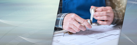 Plumber's hands putting seal tape on a thread of a plumbing fitting. panoramic banner