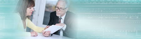 Financial consultant giving advices to female client. panoramic banner
