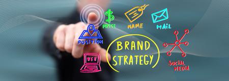 Hombre tocando un concepto de estrategia de marca en una pantalla táctil con su dedo