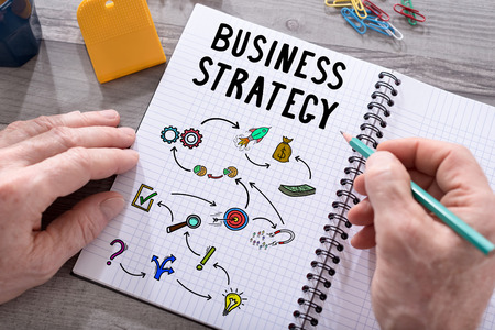 Business strategy concept drawn on a notepad placed on a desk