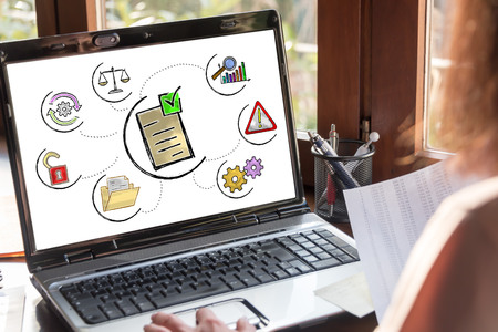 Laptop screen showing validation concept Stock Photo