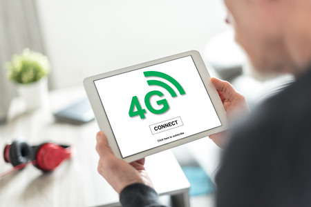 Tablet screen displaying a 4g network concept