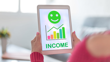 Tablet screen displaying an income growth concept