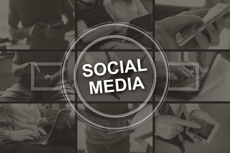 Social media concept illustrated by pictures on background Stok Fotoğraf