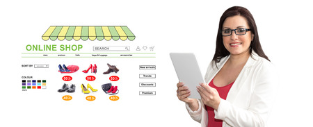 Woman using digital tablet with online shop concept on background