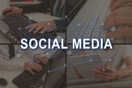 Social media concept illustrated by pictures on background Stock fotó