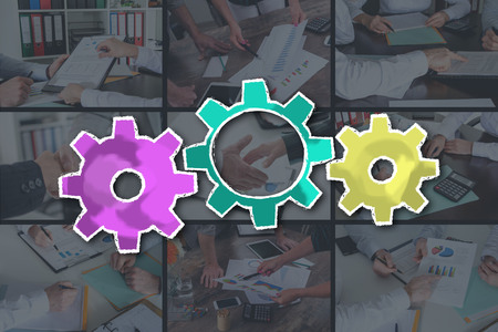 Teamwork concept illustrated by pictures on background