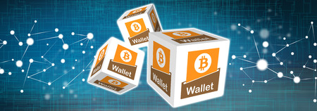 Illustration of a bitcoin wallet concept