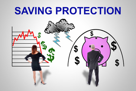 Saving protection concept drawn on a wall watched by business people