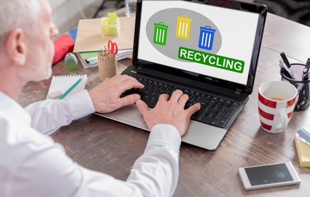 Recycling concept shown on a laptop screen