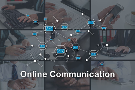 Online communication concept illustrated by pictures on background Banque d'images - 117343847