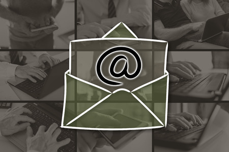 Email concept illustrated by pictures on background