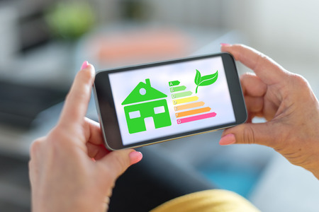 Smartphone screen displaying a home energy efficiency concept