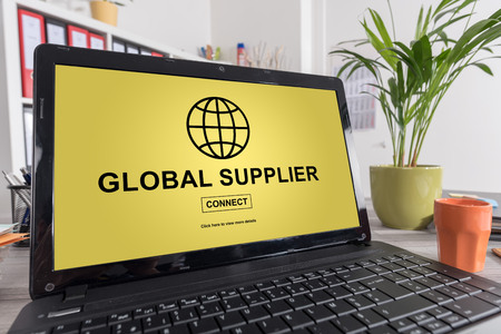 Laptop screen with global supplier concept Stock Photo