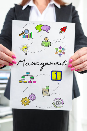Paper with management concept held by a businesswoman