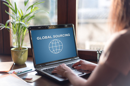 Laptop screen displaying a global sourcing concept