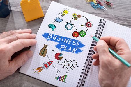 Business plan concept drawn on a notepad placed on a desk