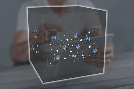 Cloud networking concept illustrated by a picture on background