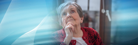 Thoughtful senior woman looking up. panoramic banner