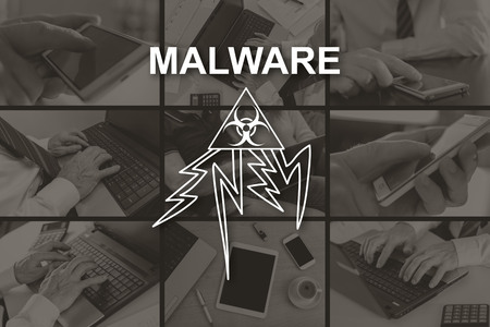 Malware concept illustrated by pictures on background