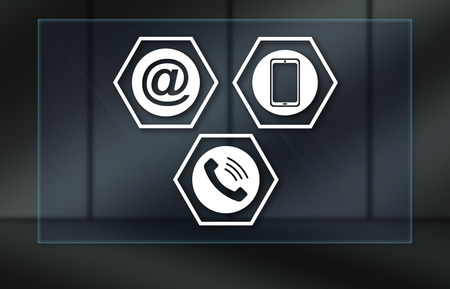 Contact concept on dark background