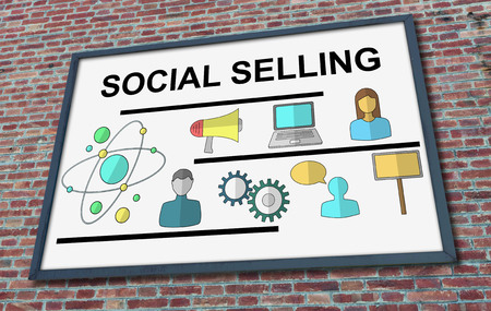 Social selling concept drawn on a billboard fixed on a brick wall Фото со стока