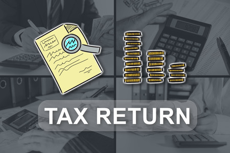 Tax return concept illustrated by pictures on background